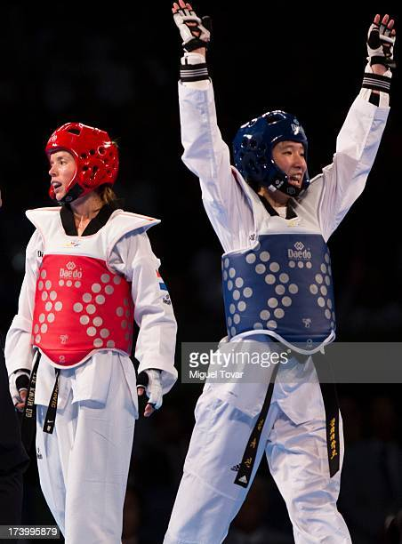 Yo Jin Kim of Korea celebrates after defeat Ana Zaninovic of Croatia during the women's 53 kg final combat of WTF World Taekwondo Championships 2013...
