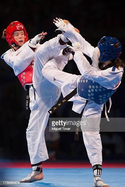 Yo Jin Kim of Korea competes with Ana Zaninovic of Croatia during the women's 53 kg final combat of WTF World Taekwondo Championships 2013 at the...