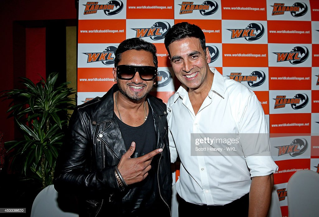 Yo Yo Tigers owner Honey Singh with Khalsa Warriors co-owner Akshay Kumar during the World Kabaddi League Press Conference on August 8, 2014 in London, England.