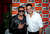 Yo Yo Tigers owner Honey Singh with Khalsa Warriors coowner Akshay Kumar during the World Kabaddi League Press Conference on August 8 2014 in London...
