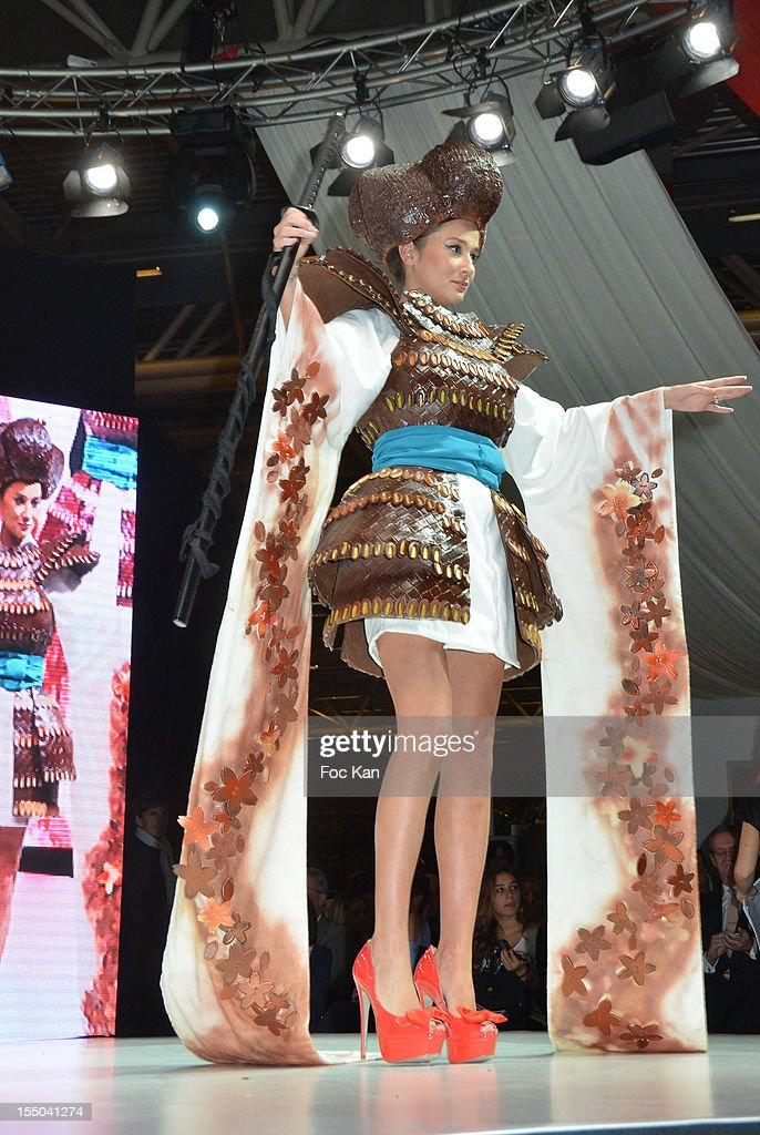 Yoake San from Top Chef dressed by Audrey Lempereur and chocolated by Frederic Cassel walks the runway during the Salon du Chocolat 2012 Opening Night at Parc des Expositions Porte de Versailles on October 30, 2012 in Paris, France.