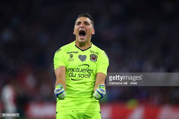 Yoan Cardinale of OGC Nice celebrates after Vincent Marcel scores a goal to make it 22 during the UEFA Champions League Qualifying Third Round match...