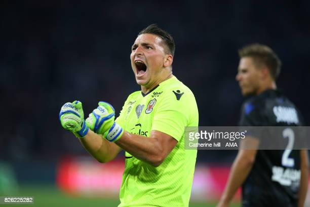 Yoan Cardinale of OGC Nice celebrates during the UEFA Champions League Qualifying Third Round match between Ajax and OSC Nice at Amsterdam Arena on...
