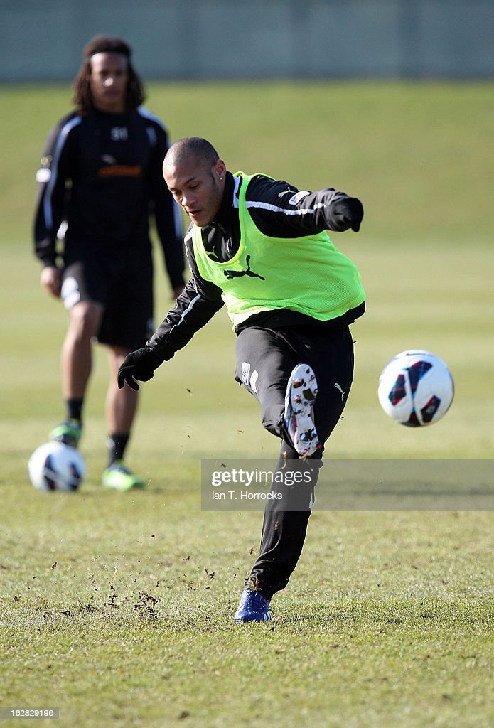 <a gi-track='captionPersonalityLinkClicked' href=/galleries/search?phrase=Yoan+Gouffran&family=editorial&specificpeople=534470 ng-click='$event.stopPropagation()'>Yoan Gouffran</a> in action during a Newcastle United training session at the Little Benton training ground on February 28, 2013 in Newcastle upon Tyne, England.