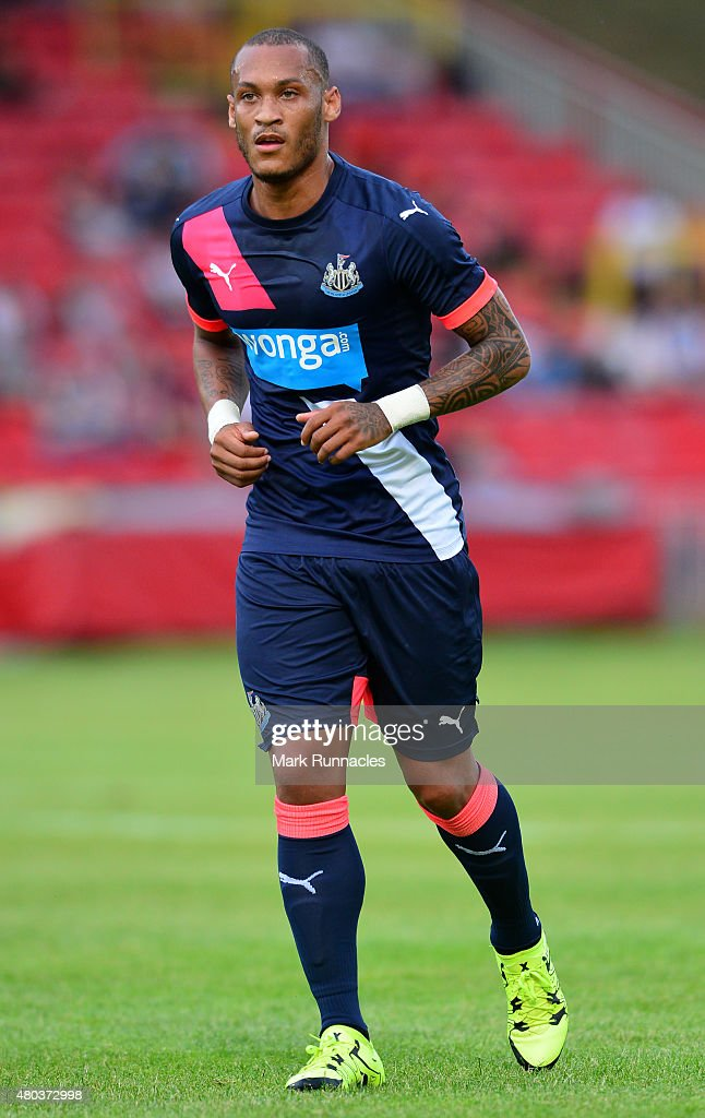 <a gi-track='captionPersonalityLinkClicked' href=/galleries/search?phrase=Yoan+Gouffran&family=editorial&specificpeople=534470 ng-click='$event.stopPropagation()'>Yoan Gouffran</a> of Newcastle in action during the pre season friendly between Gateshead and Newcastle United at Gateshead International Stadium on July 10, 2015 in Gateshead, England.