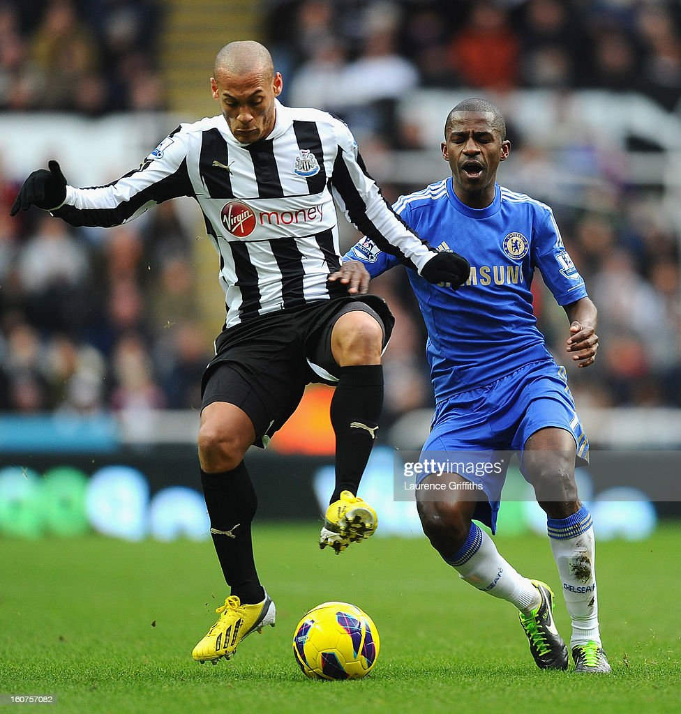 <a gi-track='captionPersonalityLinkClicked' href=/galleries/search?phrase=Yoan+Gouffran&family=editorial&specificpeople=534470 ng-click='$event.stopPropagation()'>Yoan Gouffran</a> of Newcastle United battles with Ramires of Chelsea during the Barclays Premier League match between Newcastle United and Chelsea at St James' Park on February 2, 2013 in Newcastle upon Tyne, England.