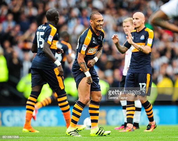 Yoan Gouffran of Newcastle United celebrates after scoring the opening goal during the Sky Bet Championship match between Derby County and Newcastle...
