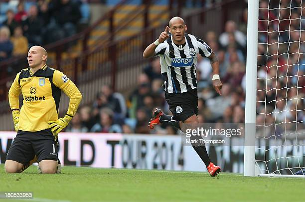 Yoan Gouffran of Newcastle United celebrates his goal during the Barclays Premier League match between Aston Villa and Newcastle United at Villa Park...