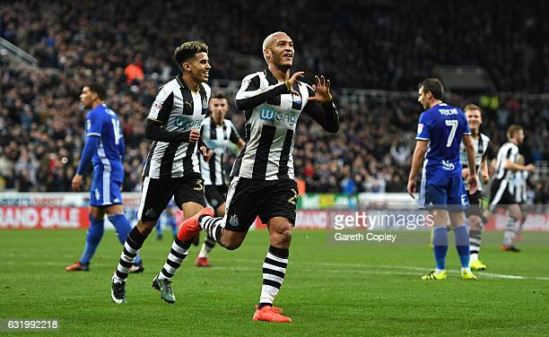 Yoan Gouffran of Newcastle United celebrates scoring his team's second goal during The Emirates FA Cup Third Round Replay match between Newcastle...