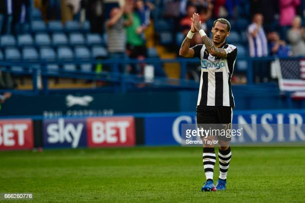 Yoan Gouffran of Newcastle United claps the fans during the Sky Bet Championship Match between Sheffield Wednesday and Newcastle United at...