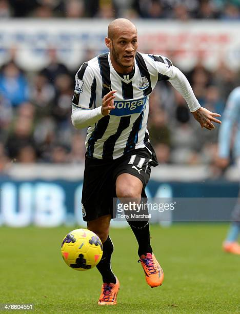 Yoan Gouffran of Newcastle United during the Barclays Premier League match between Newcastle United and Aston Villa at St James' Park on February 23...