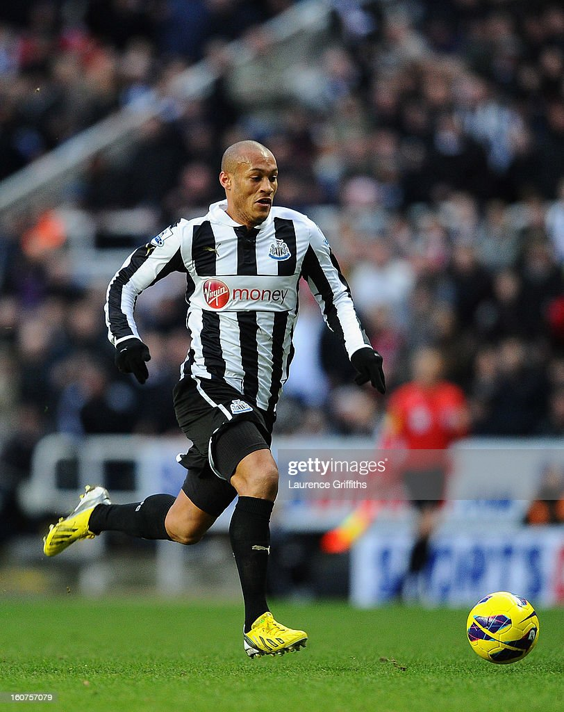 <a gi-track='captionPersonalityLinkClicked' href=/galleries/search?phrase=Yoan+Gouffran&family=editorial&specificpeople=534470 ng-click='$event.stopPropagation()'>Yoan Gouffran</a> of Newcastle United in action during the Barclays Premier League match between Newcastle United and Chelsea at St James' Park on February 2, 2013 in Newcastle upon Tyne, England.