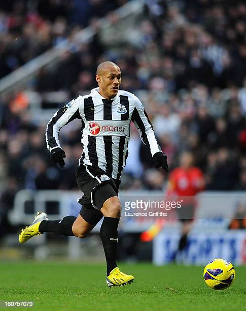 Yoan Gouffran of Newcastle United in action during the Barclays Premier League match between Newcastle United and Chelsea at St James' Park on...