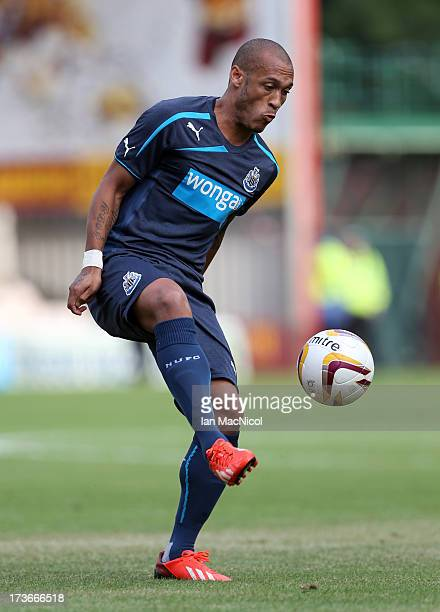 Yoan Gouffran of Newcastle United in action during the Pre Season Friendly match between Motherwell and Newcastle United at Fir Park on July 16 2013...