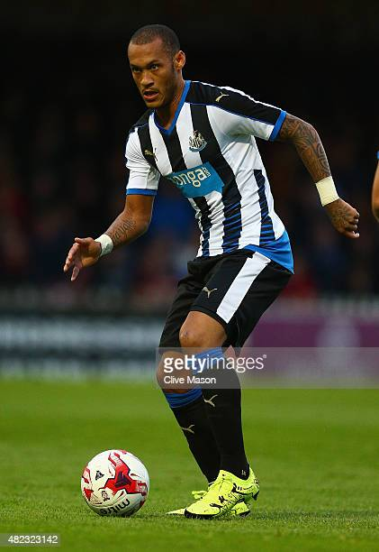 Yoan Gouffran of Newcastle United in action during the pre season friendly match between York City and Newcastle United at Bootham Crescent on July...