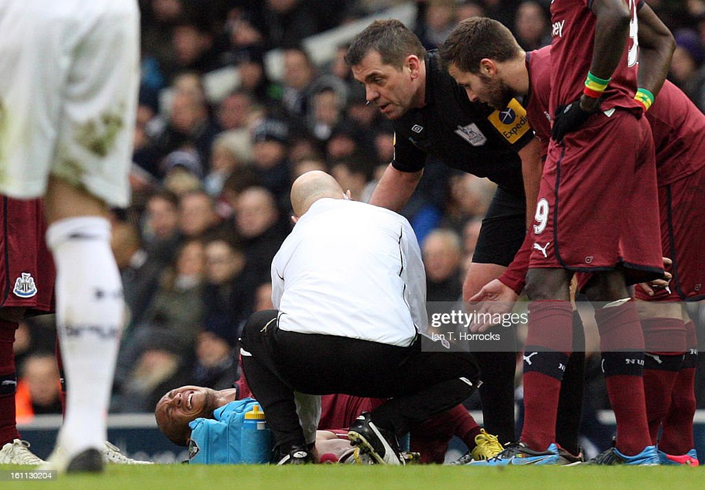 Yoan Gouffran of Newcastle United is injured during the Barclays Premier League match between Tottenham Hotspur and Newcastle United at White Hart Lane on February 09, 2013 in London, England.