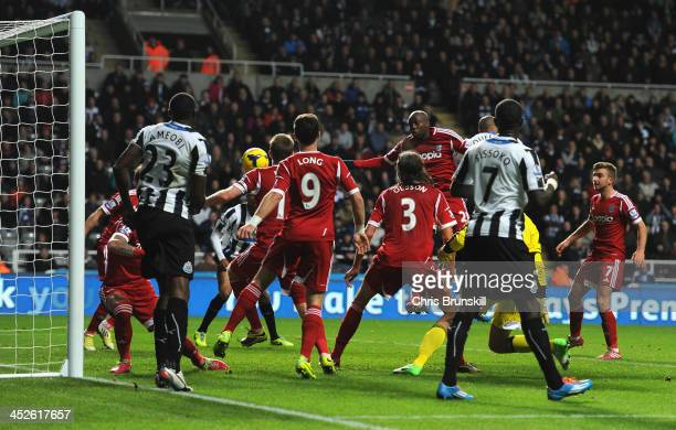 Yoan Gouffran of Newcastle United scores the opening goal during the Barclays Premier League match between Newcastle United and West Bromwich Albion...