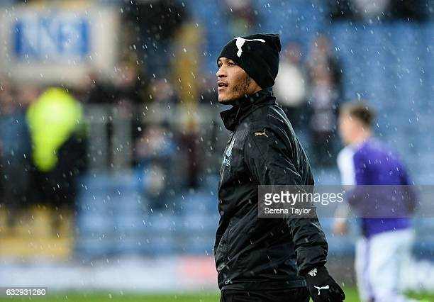 Yoan Gouffran of Newcastle United warms up in the rain prior to kick off of The Emirates FA Cup Fourth Round between Oxford United and Newcastle...