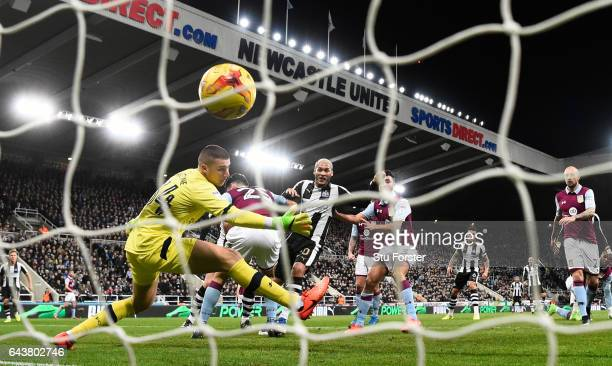 Yoan Gouffran scores the opening goal for Newcastle during the Sky Bet Championship match between Newcastle United and Aston Villa at St James' Park...