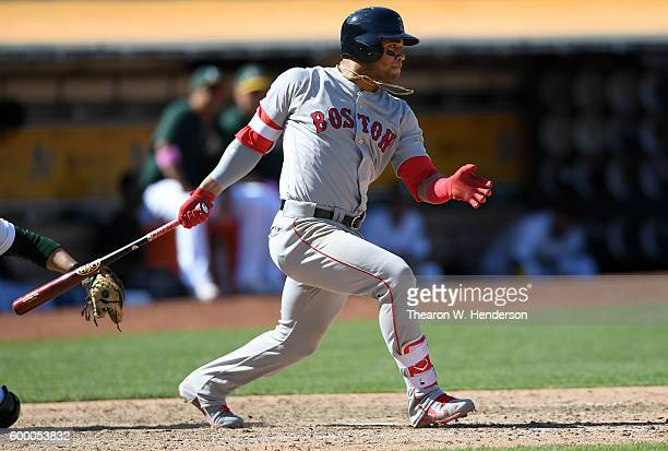 Yoan Moncada of the Boston Red Sox bats against the Oakland Athletics in the top of the ninth inning at OaklandAlameda County Coliseum on September 4...