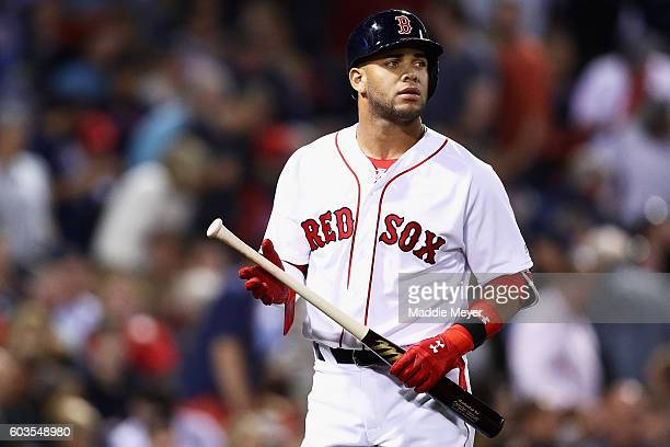Yoan Moncada of the Boston Red Sox reacts after striking out in the seventh inning against the Baltimore Orioles at Fenway Park on September 12 2016...