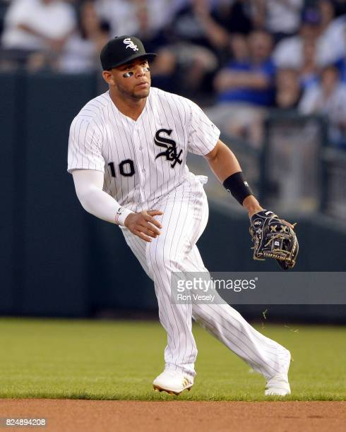 Yoan Moncada of the Chicago White Sox fields against the Chicago Cubs on July 27 2017 at Guaranteed Rate Field in Chicago Illinois