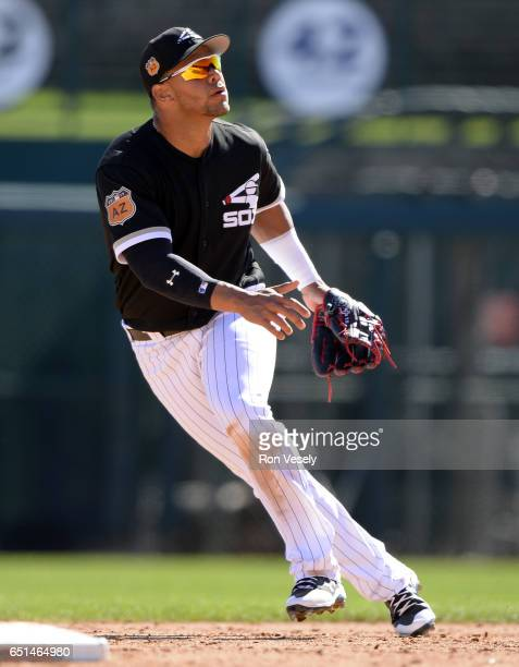 Yoan Moncada of the Chicago White Sox fields during a spring training game against the San Diego Padres on March 6 2017 at Camelback Ranch in...
