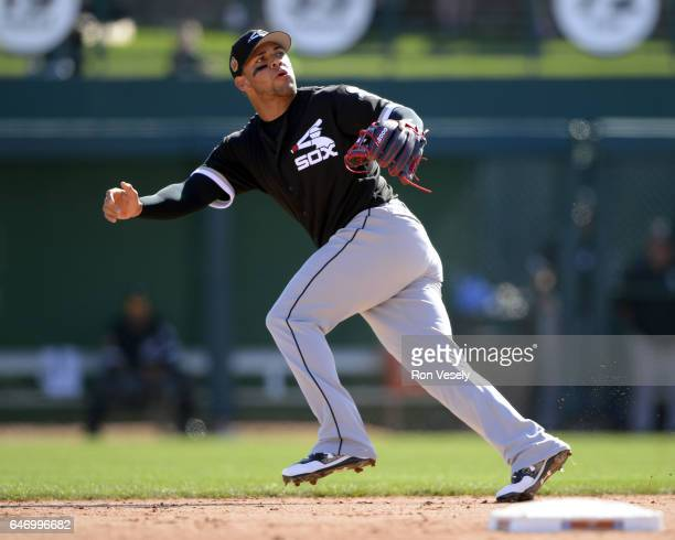 Yoan Moncada of the Chicago White Sox fields during the spring training game against the Los Angeles Dodgers on February 25 2017 at Camelback Ranch...