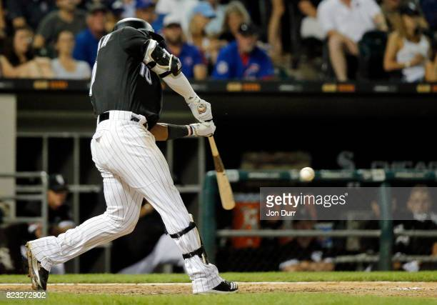Yoan Moncada of the Chicago White Sox hits a home run against the Chicago Cubs during the seventh inning at Guaranteed Rate Field on July 26 2017 in...