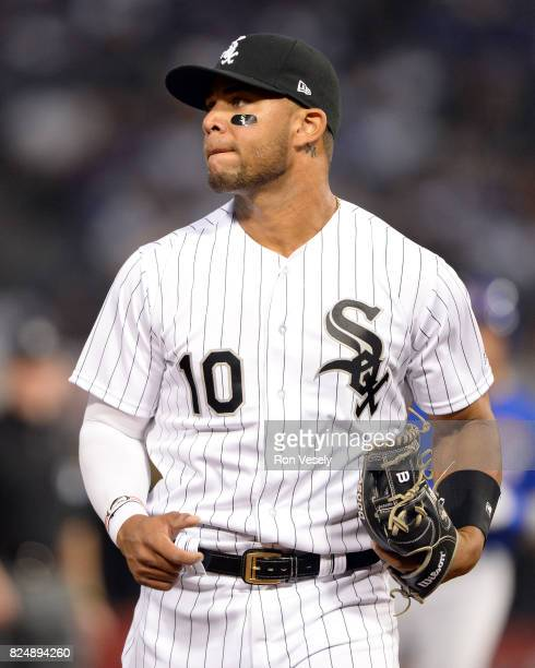 Yoan Moncada of the Chicago White Sox looks on against the Chicago Cubs on July 27 2017 at Guaranteed Rate Field in Chicago Illinois