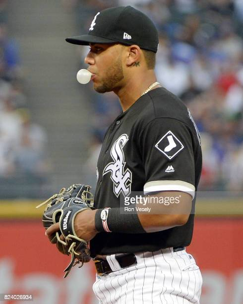 Yoan Moncada of the Chicago White Sox looks on while blowing a bubble against the Chicago Cubs on July 26 2017 at Guaranteed Rate Field in Chicago...
