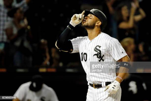 Yoan Moncada of the Chicago White Sox reacts after hitting a home run against the Houston Astros during the ninth inning to tie the game at...