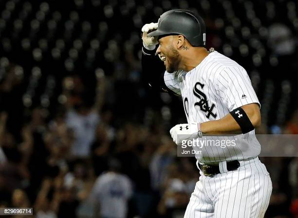 Yoan Moncada of the Chicago White Sox reacts after hitting a walkoff RBI single against the Houston Astros during the eleventh inning at Guaranteed...