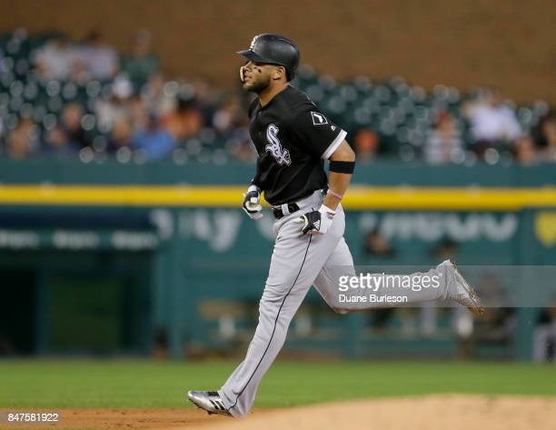 Yoan Moncada of the Chicago White Sox rounds the bases after hitting a home run against the Detroit Tigers during the third inning at Comerica Park...