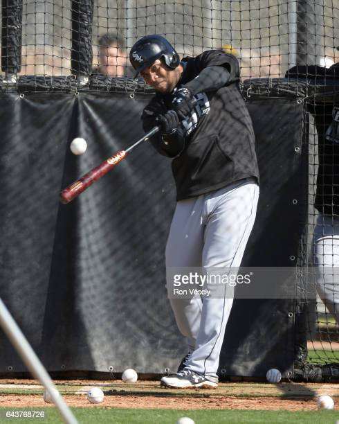 Yoan Moncada of the Chicago White Sox swings in the batting cage during spring training workouts on February 20 2017 at Camelback Ranch in Glendale...