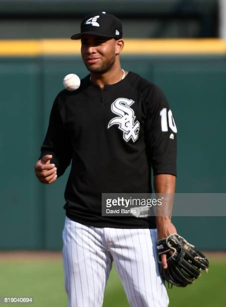 Yoan Moncada of the Chicago White Sox takes infield practice before the game against the Los Angeles Dodgers on July 19 2017 at Guaranteed Rate Field...