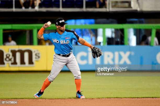 Yoan Moncada of the World Team throws to first base during SirusXM AllStar Futures Game at Marlins Park on Sunday July 9 2017 in Miami Florida