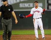 Yoan Moncada reacts after the referee calls him out after trying to slide back into second during the game against the New Hampshire Fisher Cats at...