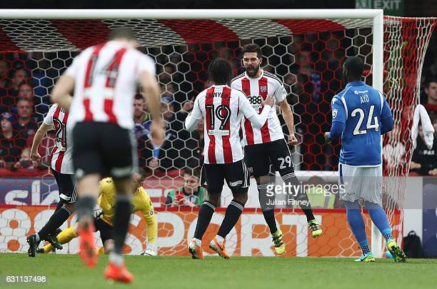 Yoann Barbet of Brentford celebrates after scoring his sides first goal during the Emirates FA Cup third round match between Brentford and Eastleigh...