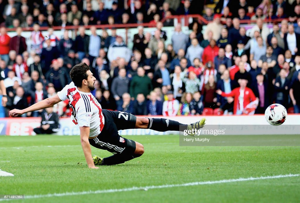 Yoann Barbet of Brentford scores his teams first goal during the Sky Bet Championship match between Brentford and Queens Park Rangers at Griffin Park on April 22, 2017 in Brentford, England.