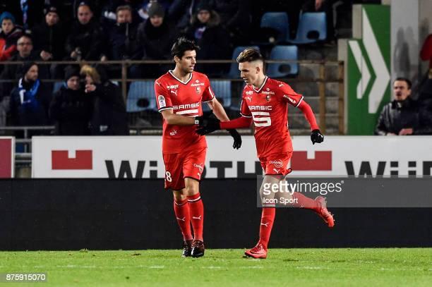 Yoann Gourcuff and Adrien Hunou celebrate during the Ligue 1 match between Strasbourg and Rennes at Stade de la Meinau on November 18 2017 in...