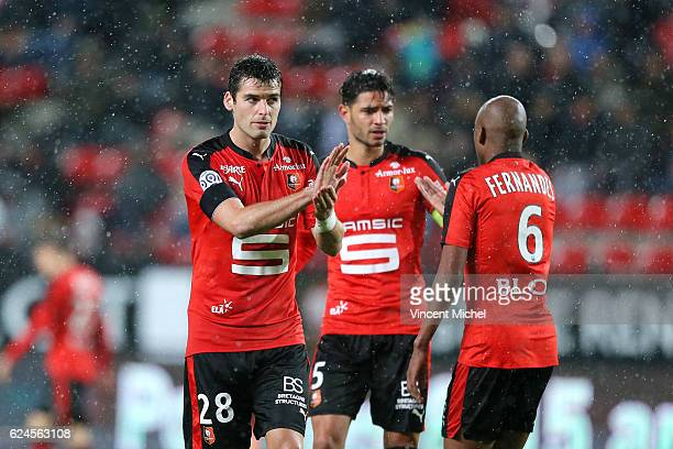 Yoann Gourcuff and Gelson Fernandes of Rennes during the Ligue 1 match between Stade Rennais and Sco Angers at Stade de la Route de Lorient on...