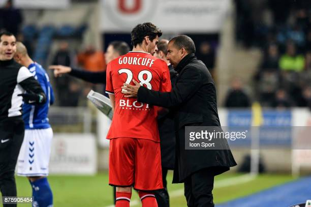 Yoann Gourcuff and Sabri Lamouchi head coach of Rennes during the Ligue 1 match between Strasbourg and Rennes at Stade de la Meinau on November 18...
