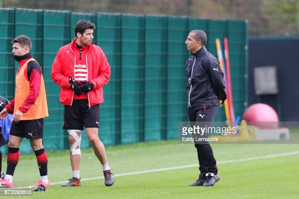 Yoann Gourcuff and Sabri Lamouchi new Headcoach of Rennes during training session on November 9 2017 in Rennes France