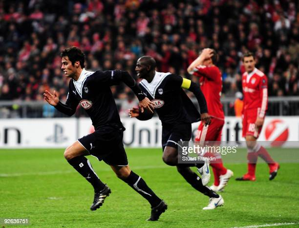 Yoann Gourcuff of Bordeaux celebrates after scoring his team's first goal during the UEFA Champions League Group A match between FC Bayern Muenchen...