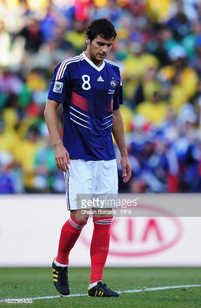 Yoann Gourcuff of France is sent off during the 2010 FIFA World Cup South Africa Group A match between France and South Africa at the Free State...