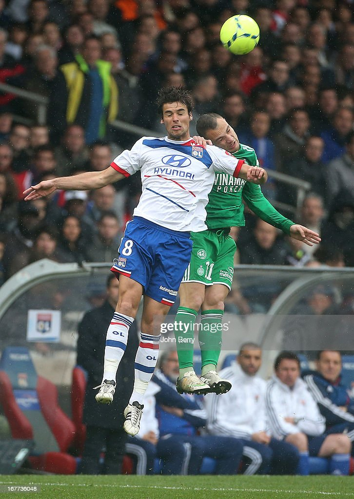 <a gi-track='captionPersonalityLinkClicked' href=/galleries/search?phrase=Yoann+Gourcuff&family=editorial&specificpeople=600434 ng-click='$event.stopPropagation()'>Yoann Gourcuff</a> of Lyon and Yohan Mollo of Saint-Etienne in action during the Ligue 1 match between Olympique Lyonnais, OL, and AS Saint-Etienne, ASSE, at the Stade Gerland on April 28, 2013 in Lyon, France.