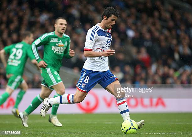 Yoann Gourcuff of Lyon in action during the Ligue 1 match between Olympique Lyonnais OL and AS SaintEtienne ASSE at the Stade Gerland on April 28...