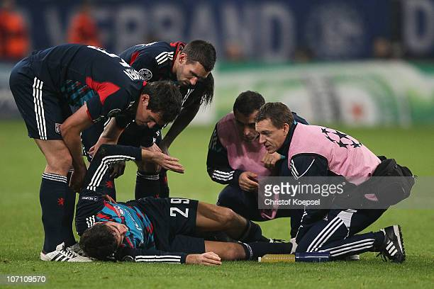 Yoann Gourcuff of Lyon lies injured on the pitch during the UEFA Champions League group B match between FC Schalke 04 and Olympique Lyonnais at...