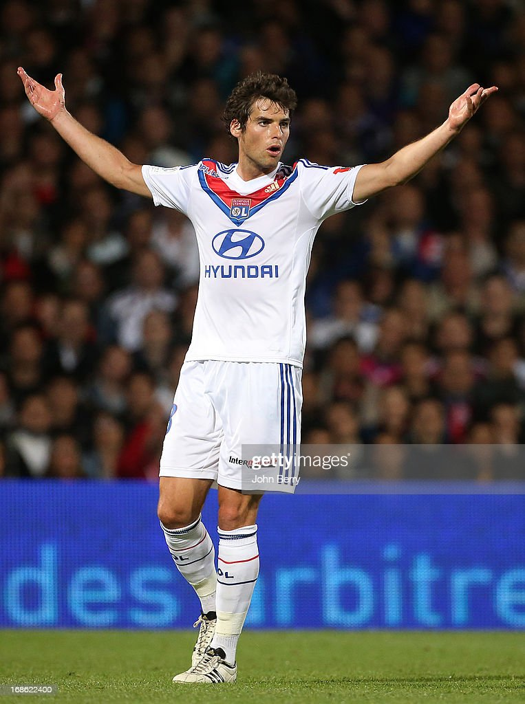 Yoann Gourcuff of Lyon reacts after receiving a yellow card during the Ligue 1 match between Olympique Lyonnais, OL, and Paris Saint-Germain FC, PSG, at the Stade Gerland on May 12, 2013 in Lyon, France.